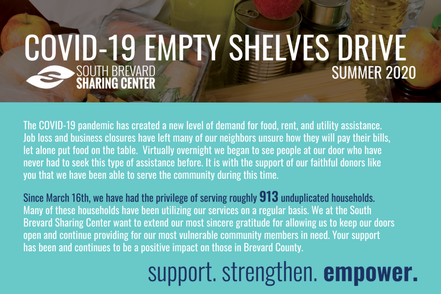 COVID-19 EMPTY SHELVES DRIVE-South Brevard Sharing Center-September 19 & 20